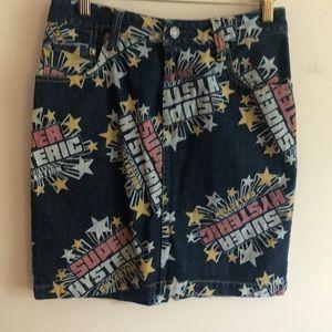 Hysteric Glamour print denim jean skirt